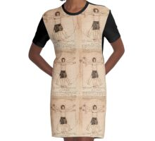 Vitruvian Jamie - a Leonardo dream Graphic T-Shirt Dress