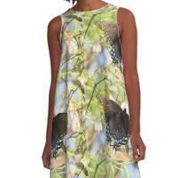Black Butterfly on a Blueberry Bush A-Line Dress
