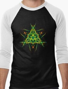 Energetic Geometry-  Abstract Pentacle Symbol for Earthen Connection Men's Baseball ¾ T-Shirt