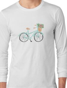 Baby Blue Bicycle Long Sleeve T-Shirt