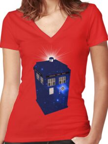 TARDIS Illustrated- Galactic Blue Women's Fitted V-Neck T-Shirt