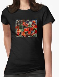 Bits and Pieces Paper Mosaic Womens Fitted T-Shirt