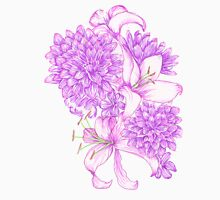 Violet Lilies and Dahlias Unisex T-Shirt
