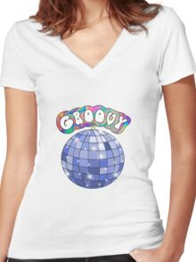 70s disco ball groovy Women's Fitted V-Neck T-Shirt