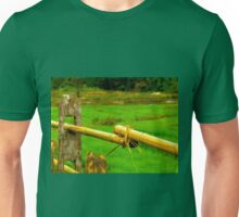 Green fields, bamboo fences, outside Chiang Mai, Thailand Unisex T-Shirt
