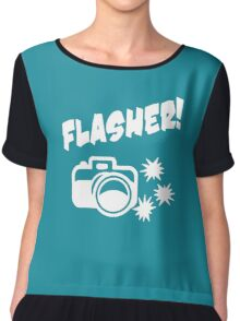 Flasher Funny Photograph Chiffon Top