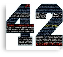 Hitchhiker's Guide 42 Quotes Canvas Print