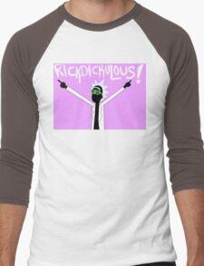 RICKDICKULOUS! - Color Text Men's Baseball ¾ T-Shirt