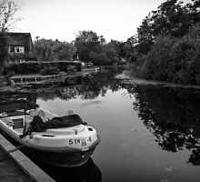 B&W Photo of Our Boat and the beautiful River that Surrounds it!  by Ben Frewin