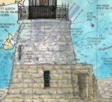 Castle Hill Lighthouse RI Nautical Chart Cathy Peek Sticker