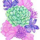 Floral Succulent Print by PugNpearl