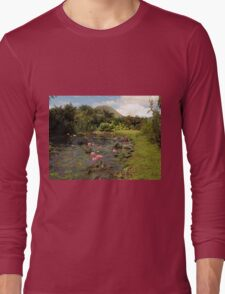Pink Water Lily Wild Garden Long Sleeve T-Shirt