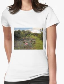 Pink Water Lily Wild Garden Womens Fitted T-Shirt