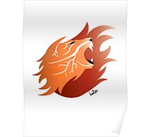 Fire Lion (White Back) Poster