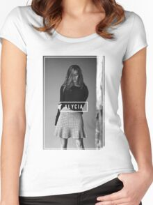 Alycia Debnam-Carey Black and White Name Women's Fitted Scoop T-Shirt