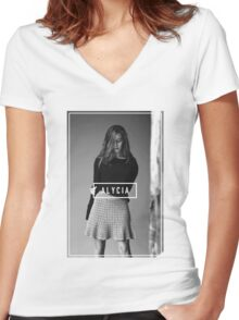 Alycia Debnam-Carey Black and White Name Women's Fitted V-Neck T-Shirt