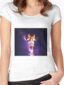 Awkward Giraffe in Space Women's Fitted Scoop T-Shirt