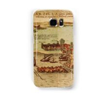 Asilah Vintage map.Geography Morocco ,city view,building,political,Lithography,historical fashion,geo design,Cartography,Country,Science,history,urban Samsung Galaxy Case/Skin