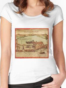 Asilah Vintage map.Geography Morocco ,city view,building,political,Lithography,historical fashion,geo design,Cartography,Country,Science,history,urban Women's Fitted Scoop T-Shirt