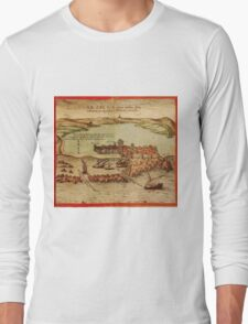 Asilah Vintage map.Geography Morocco ,city view,building,political,Lithography,historical fashion,geo design,Cartography,Country,Science,history,urban Long Sleeve T-Shirt