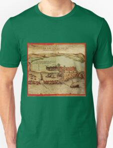Asilah Vintage map.Geography Morocco ,city view,building,political,Lithography,historical fashion,geo design,Cartography,Country,Science,history,urban Unisex T-Shirt