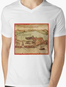 Asilah Vintage map.Geography Morocco ,city view,building,political,Lithography,historical fashion,geo design,Cartography,Country,Science,history,urban Mens V-Neck T-Shirt