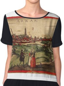 Arras Vintage map.Geography France ,city view,building,political,Lithography,historical fashion,geo design,Cartography,Country,Science,history,urban Chiffon Top