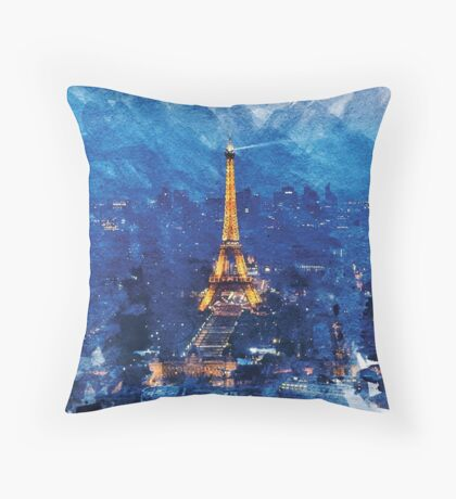 Paris Nights Watercolor Print Throw Pillow