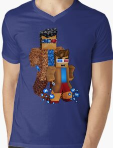 8bit boy with 10th Doctor shadow Mens V-Neck T-Shirt