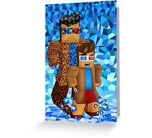 8bit boy with 10th Doctor shadow Greeting Card
