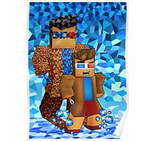 8bit boy with 10th Doctor shadow Poster