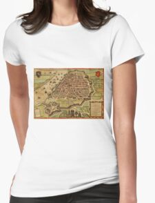 Antwerpen Vintage map.Geography Belgium ,city view,building,political,Lithography,historical fashion,geo design,Cartography,Country,Science,history,urban Womens Fitted T-Shirt
