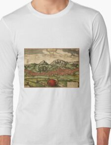 Antequera Vintage map.Geography Spain ,city view,building,political,Lithography,historical fashion,geo design,Cartography,Country,Science,history,urban Long Sleeve T-Shirt