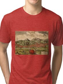 Antequera Vintage map.Geography Spain ,city view,building,political,Lithography,historical fashion,geo design,Cartography,Country,Science,history,urban Tri-blend T-Shirt