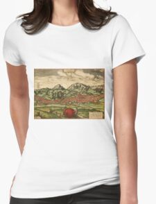 Antequera Vintage map.Geography Spain ,city view,building,political,Lithography,historical fashion,geo design,Cartography,Country,Science,history,urban Womens Fitted T-Shirt