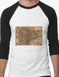 Amsterdam Vintage map.Geography Netherlands ,city view,building,political,Lithography,historical fashion,geo design,Cartography,Country,Science,history,urban Men's Baseball ¾ T-Shirt