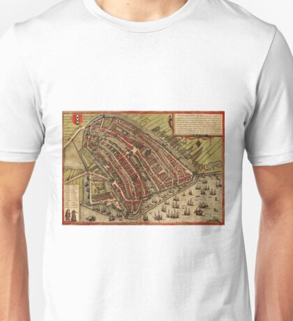 Amsterdam Vintage map.Geography Netherlands ,city view,building,political,Lithography,historical fashion,geo design,Cartography,Country,Science,history,urban Unisex T-Shirt