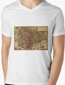 Amsterdam Vintage map.Geography Netherlands ,city view,building,political,Lithography,historical fashion,geo design,Cartography,Country,Science,history,urban Mens V-Neck T-Shirt