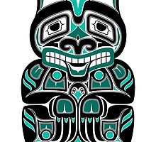 Teal Blue and Black Haida Spirit Bear by Jeff Bartels