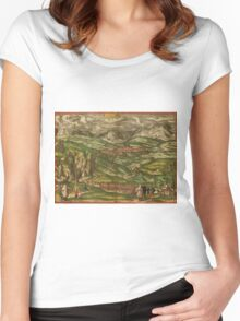 Alham Vintage map.Geography Germany ,city view,building,political,Lithography,historical fashion,geo design,Cartography,Country,Science,history,urban Women's Fitted Scoop T-Shirt