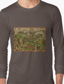 Alham Vintage map.Geography Germany ,city view,building,political,Lithography,historical fashion,geo design,Cartography,Country,Science,history,urban Long Sleeve T-Shirt