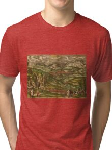 Alham Vintage map.Geography Germany ,city view,building,political,Lithography,historical fashion,geo design,Cartography,Country,Science,history,urban Tri-blend T-Shirt
