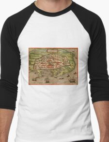 Alexandria Vintage map.Geography Egypt ,city view,building,political,Lithography,historical fashion,geo design,Cartography,Country,Science,history,urban Men's Baseball ¾ T-Shirt