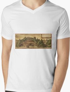 Aden Vintage map.Geography Yemen ,city view,building,political,Lithography,historical fashion,geo design,Cartography,Country,Science,history,urban Mens V-Neck T-Shirt