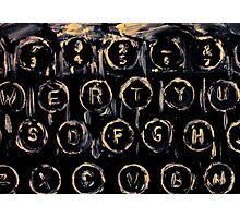 Vintage Typewriter Keyboard Keys Black And White Original Acrylic Artwork Photographic Print