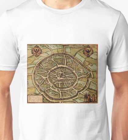 Aachen Vintage map.Geography Germany ,city view,building,political,Lithography,historical fashion,geo design,cartography,Country,Science,history,urban Unisex T-Shirt