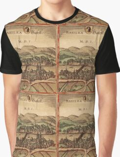 Basel Vintage map.Geography Switzerland ,city view,building,political,Lithography,historical fashion,geo design,Cartography,Country,Science,history,urban Graphic T-Shirt