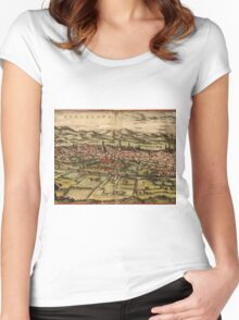 Barcelona Vintage map.Geography Spain ,city view,building,political,Lithography,historical fashion,geo design,Cartography,Country,Science,history,urban Women's Fitted Scoop T-Shirt