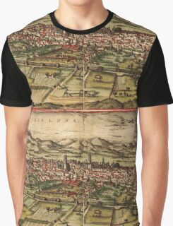 Barcelona Vintage map.Geography Spain ,city view,building,political,Lithography,historical fashion,geo design,Cartography,Country,Science,history,urban Graphic T-Shirt