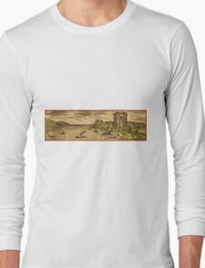 Baia Vintage map.Geography Italy ,city view,building,political,Lithography,historical fashion,geo design,Cartography,Country,Science,history,urban Long Sleeve T-Shirt